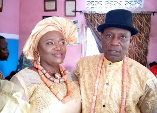 Mr & Mrs Jimoh Aruna after the traditional marriage in Jeddo, Delta State
